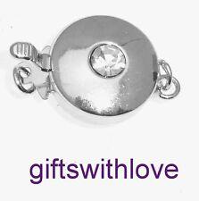 Los hallazgos-Plata Plateado 1 Fila Collar Broche con Piedra de centro conjunto diamante