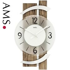 AMS 9545 Horloge murale Quartz Analogique MODERNE BOIS NOIX coloris avec