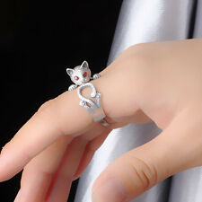 Women Silver Vintage Retro Punk Style Ring Knuckle Animal Cute Cat Rings Jewelry