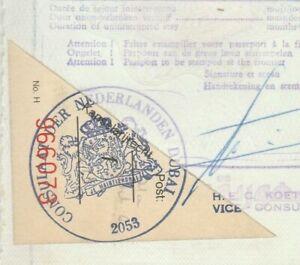 NETHERLANDS Consular Revenue Tied Diplomatic Doc. Dubai Visa 1985