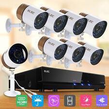 ELEC 8CH 1080P CCTV DVR 1500TVL Outdoor 960H Night Vision Security Camera System