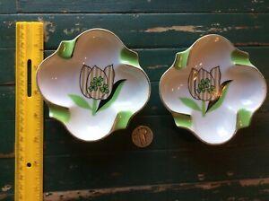 2 Vintage Circa 1950's Porcelain Ashtrays-Japan- Different Flower Design-unused