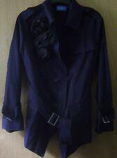 Women's Simply Vera Vera Wang Navy Blue Button Down Floral Accent Coat Jacket L