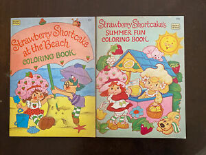 1981 New Unused  Two Vintage Strawberry Shortcake Summer Beach Coloring Books