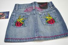 Ed Hardy  Girls Logo Denim Blue Jeans Skirt Sz 3