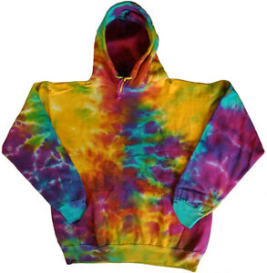 Men's tie dye sweatshirt hoodie cool funky colorful tye dyed shirt rainbow color