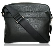 Coach Men's Black Pebbled Leather Crossbody File Messenger Bag F24867 Unisex