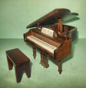 BABY GRAND WITH BENCH WALNUT  DOLLHOUSE FURNITURE  MINIATURES NEW