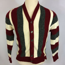 Vintage 1950's Brent Cardigan Sweater Shirt Jacket Stripe M Acrylic Retro Atomic