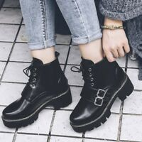 Womens Fashion Punk Buckle Strap Lace Up Gothic Block Heels Army Ankle Boots SZ