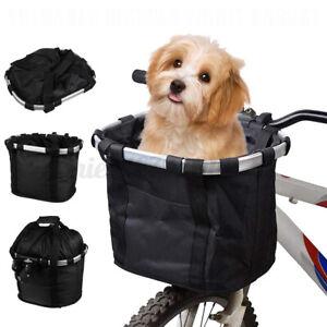 Foldable Bicycle Front Basket Bike Handlebar Basket Pet Carrier Frame Bag UK