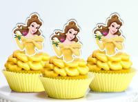#521. Belle Disney Princess Edible PRE-CUT Cupcake Cake Toppers Beauty Beast