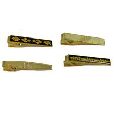 Pasadores de corbata set 4 dorados negros piedras brillantes alfileres caballero