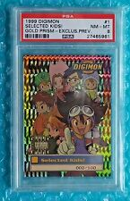 1999 Digimon SELECTED KIDS #1 Gold Prism Exclusive Preview # Card 002/100 PSA-8