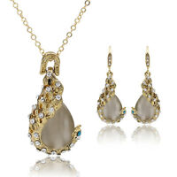 Women Rhinestone Opal Waterdrop Pendant Necklace Earrings Jewelry Set Striking