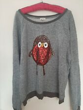 River Island Christmas Top Size 16 Sequin Robin