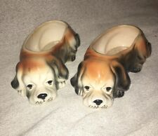 Vintage Two Sleepy Dog With Floppy Ears Planter Cocker Spaniel Or Heinz 57 Doggy