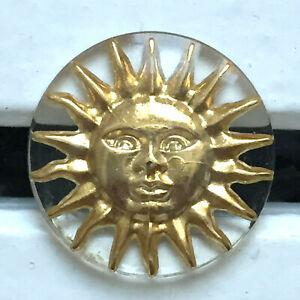 Bouton vintage - Plastique et métal soleil - 23 mm