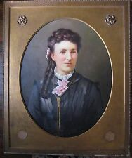 Antique American Portrait Young Brown Eyed Woman W/ Pink Flowers Southern Belle?