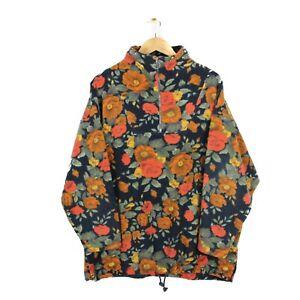 Mens Vintage 80s Half Zip Floral Print Oversized Fleece Festival Jumper - Size L