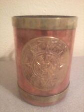 Copper and Brass Cup/Stein With Aztec Mayan Calendar Motif