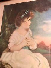 "Antique ""Age of Innocence"", Reynolds, Litho Print in Original Wood Frame w/Glass"
