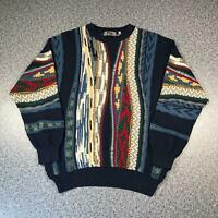 Vintage 90s FILI Cosby Style Mens Sweater Large | 3D Knit Jumper