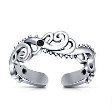 Wave Fashion Adjustable Toe Ring Women's 10k White Gold Fn Black Diamond