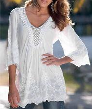 Fashion Women Sheer Sleeve Embroidery Lace Crochet Tee Chiffon Shirt Top Blouse