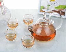 5in1 Glass Tea Set - 780ml High Handle Glass Teapot + 4x 90ml Double Wall Cups