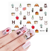 Nail Art Water Decals Stickers Transfers Easter Bunny Rabbits Cupcakes (WG2139)