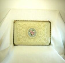 Vintage Petit Point, Lace Glass Metal Dressing Table Tray