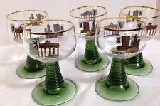 GERMAN RHINE FOREST GREEN GLASS RIBBED STEM WINE GOBLETS Berlin Europa Set of 5