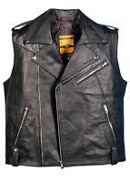 REAL LEATHER WAISTCOAT  Biker Motorcycle Black MotorBike Leather Vest/ Brando