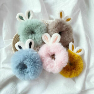 Solid Color Plush Hair Rope Ring Imitation Rabbit Fur Bunny Ear Elastic Hairband