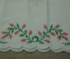 Standard Vintage Pillow Case Embroidered Pink Flowers Floral Boquet Green Vines