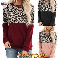 Women Leopard Loose Sweater Long Sleeve Printed T-Shirt Sweatshirt Pullover Tops
