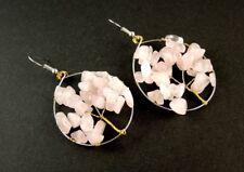 1 Tree of Life Pair of Rose Quartz Gemstone Chips Dangle Earrings #B84