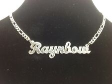 """STERLING SILVER """"RAYNBOW"""" NAME PLATE/CHAIN. CUSTOM MADE 24"""""""