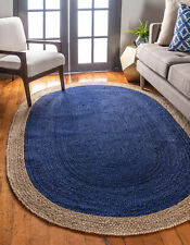 Braided Jute Oval Rug Hand Woven Reversible Decorative Blue Dye Area Floor Rug