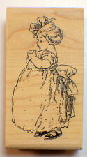 Stampington And Co Wooden Rubber Stamp Samantha Little Girl in her Fancy Dress