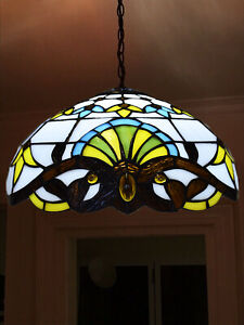 Tiffany Style Pendant Lamp Handcrafted Light Lamps Stained Glass Night Vintage