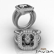 Diamond Engagement Halo Ring 18k White Gold White Emerald Shape Semi Mount 0.35C