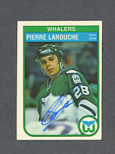 Pierre Larouche signed Whalers 1982-83 Opc hockey card