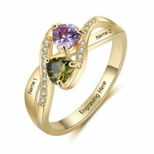 Personalised 925 Silver CZ Ring Custom Gift Infinity Ring Birthstone Name Rings
