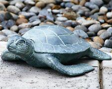 "Swimming Sea Turtle Garden Pond Pool Metal Sculpture Coastal 17""W ~ SPI Home"