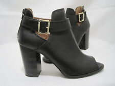 FIONI Women's Black Ankle Boots Block Heels Open Toe Buckle Zipper Shoes Size 9