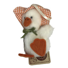 """New ListingBoyds Bears Duck """"Lula Quackenwaddle Ornament Plush Soft Fur All Tags 4 Inches"""