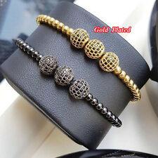 Anil Arjandas Men Gold Plated Beads & 10mm Micro Pave CZ Beads Macrame Bracelet
