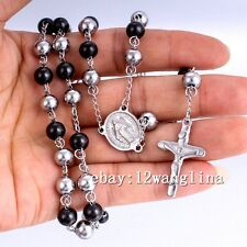 Men Chain Silver Black Bead Rosary Stainless Steel Jesus Cross Pendant Necklace
